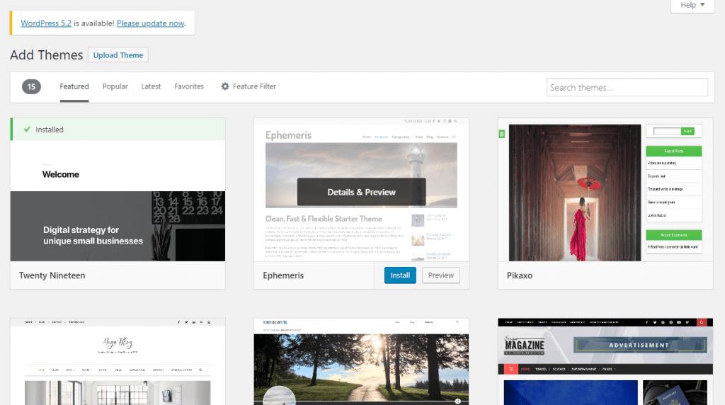 upload search theme